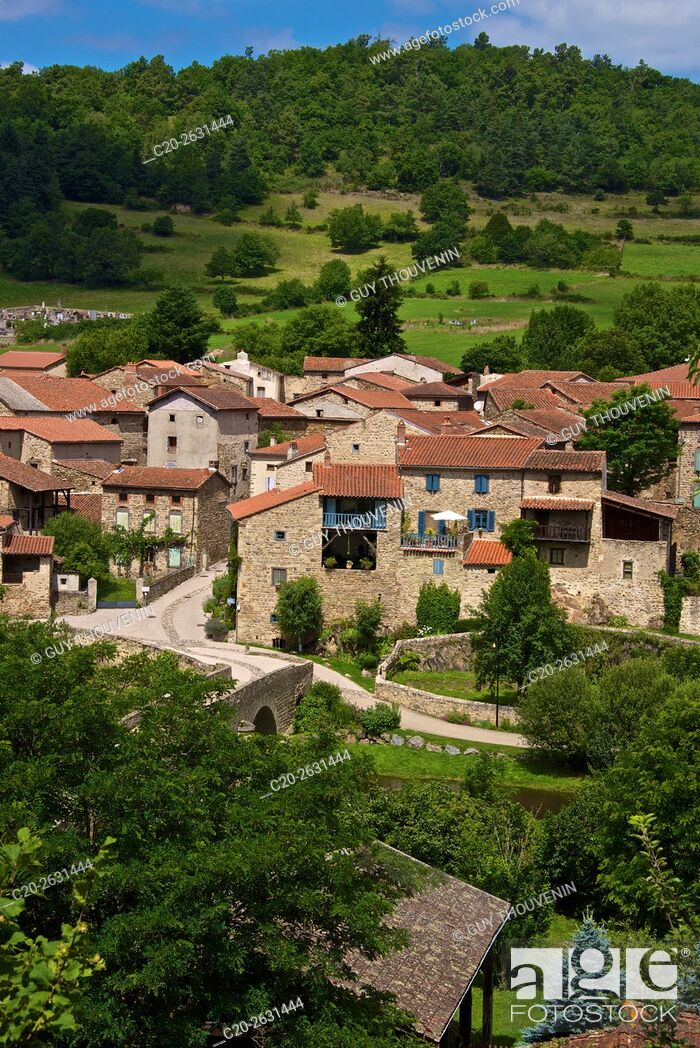 Stock Photo: Lavaudieu, medieval village, Panorama, 43, Auvergne, Haute Loire, France.