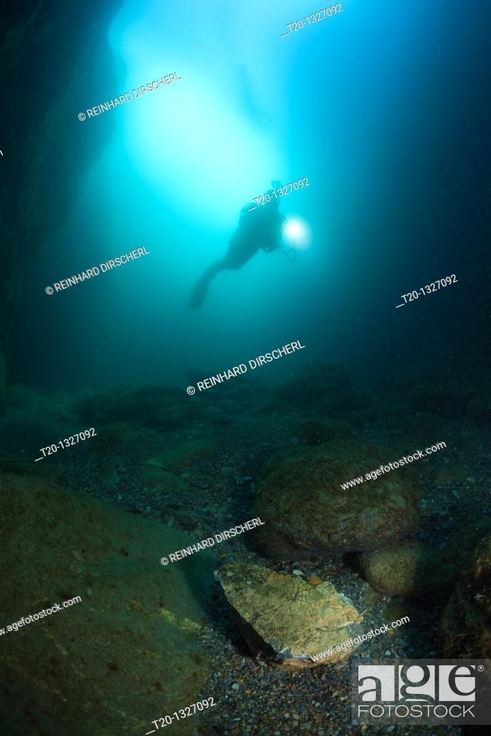 Stock Photo: Scuba Diver inside Cave, Cap de Creus, Costa Brava, Spain.