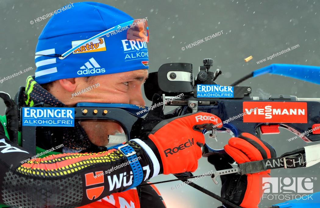 Stock Photo: Biathlete Simon Schempp of Germany in action during a training session at the Biathlon World Championships, in the Holmenkollen Ski Arena, Oslo, Norway.