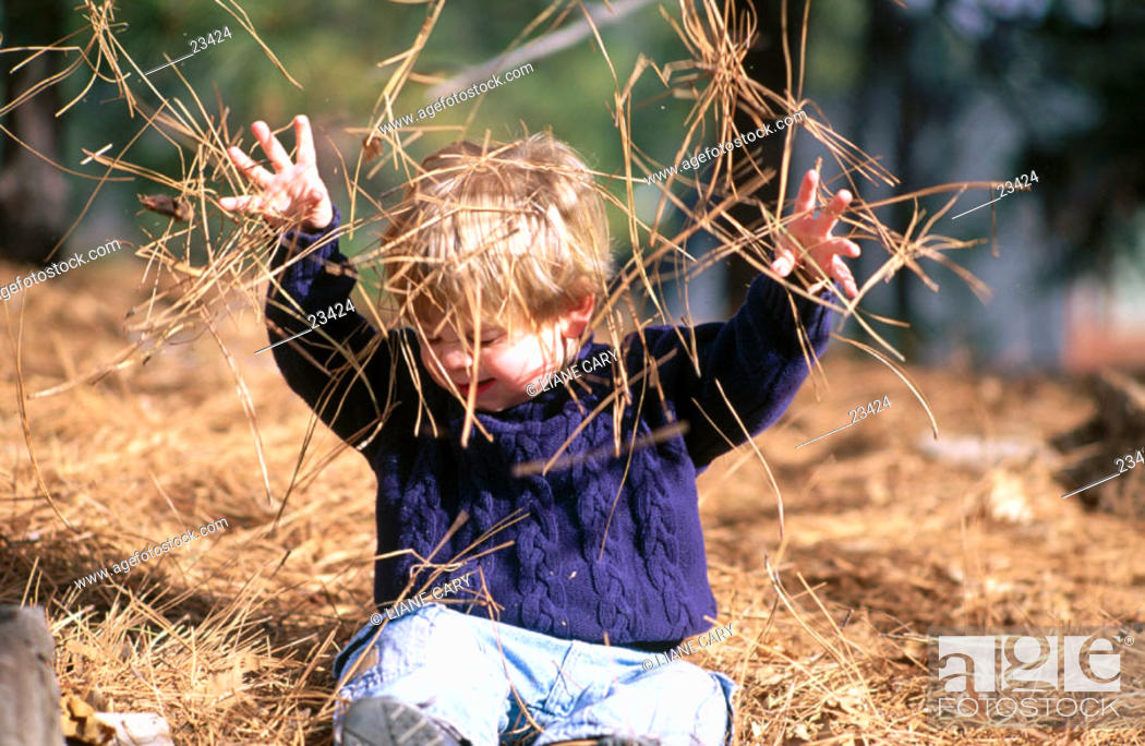 Stock Photo: Child playing in pine needles.