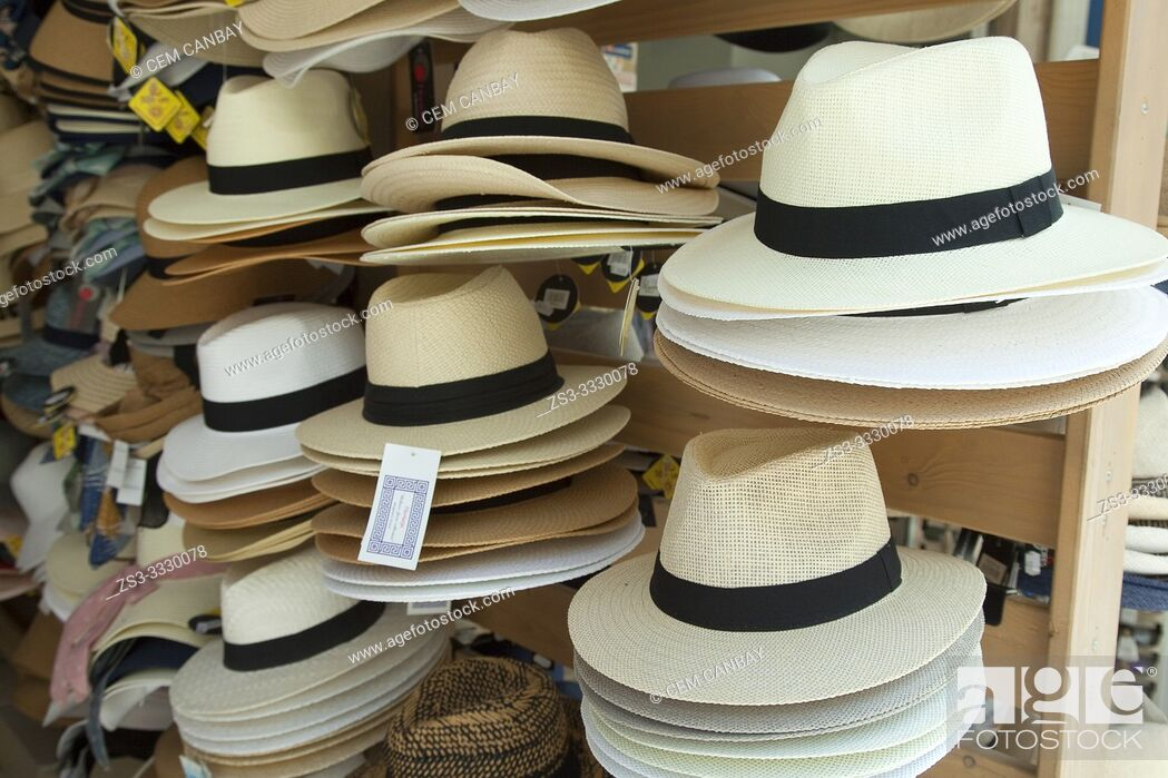 Stock Photo: Straw hats for sale in the shop at the town center, Chania, Crete, Greek Islands, Greece, Europe.