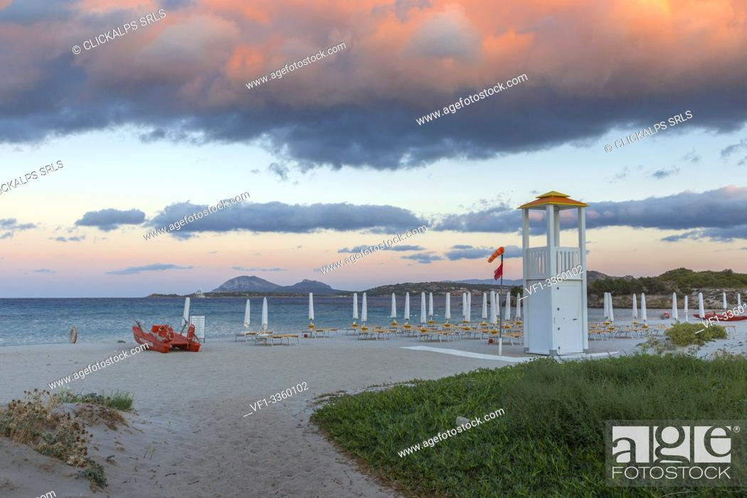 Stock Photo: Rena Bianca beach at dusk, Portisco (Olbia) Costa Smeralda, Olbia-Tempio province, Sardinia district, Italy.