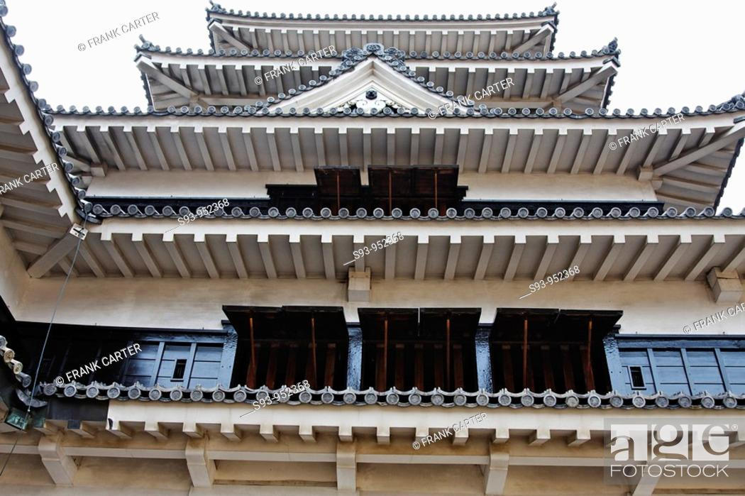 Stock Photo: A view of Matsumoto castle showing details of the wood work and roof, Matsumoto, Nagano, Japan.