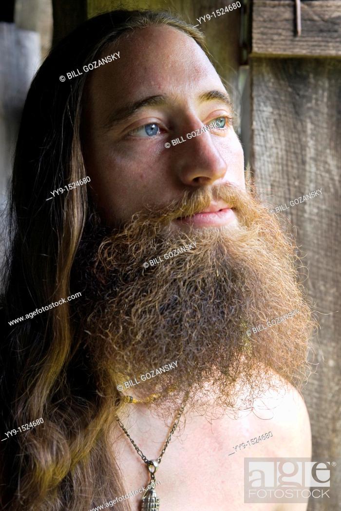 Stock Photo: Portrait of Bearded Young Man - Cedar Mountain, North Carolina, USA.
