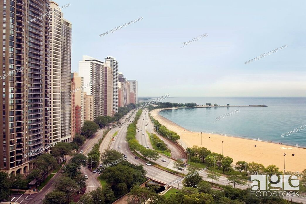 Stock Photo: Chicago's high rise, high rent luxury district, the Gold Coast, which sits along Lake Shore Drive, Oak Street Beach, and Lake Michigan View looking North.