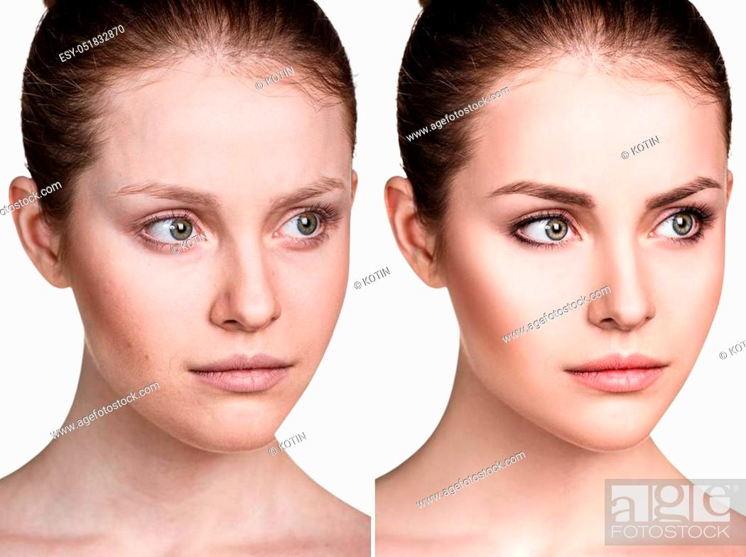 Imagen: Comparison portrait of young woman before and after make-up.