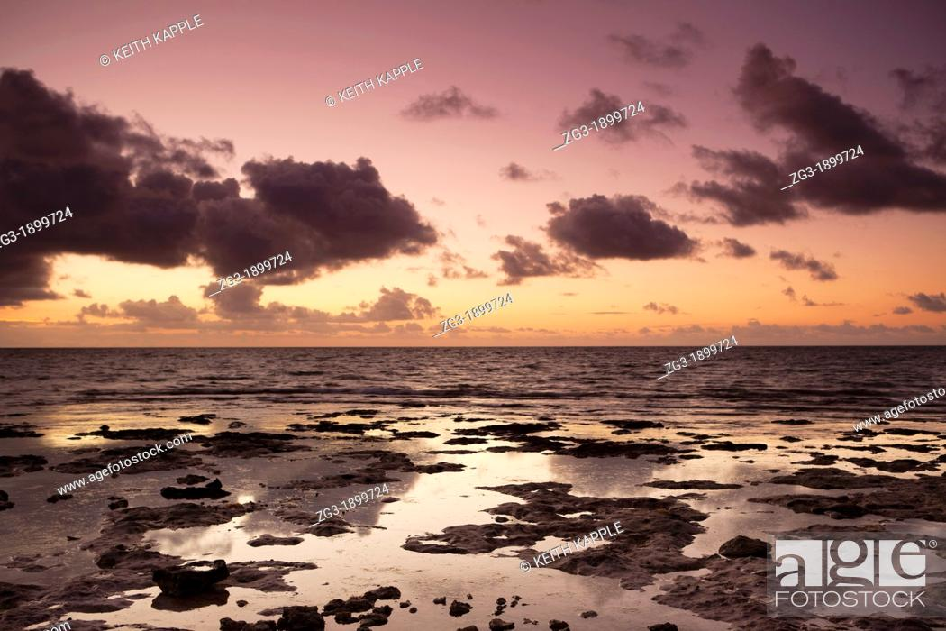 Stock Photo: Dawn sunlight and rocky coast at Spanish Key, Florida, USA.