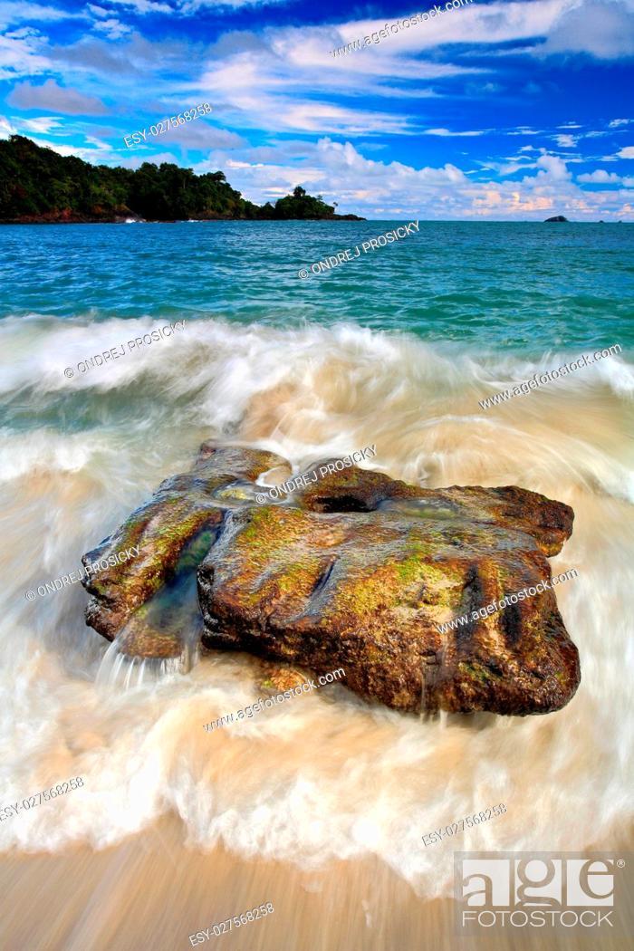 Stock Photo: Beautiful sea coast landscape with waves and stone.