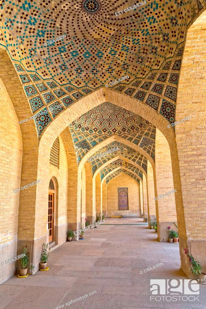 Stock Photo: Arcade hall passages of the Nasir al-Mulk Mosque is a traditional mosque located in Goad-e-Araban place in Shiraz.