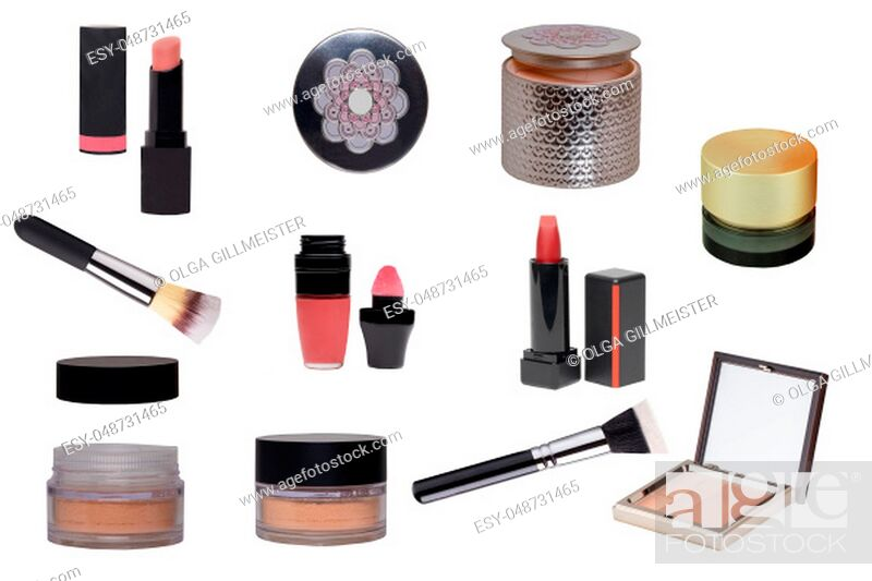 Stock Photo: Cosmetic products. Collage Set or collection of cosmetic and beauty products isolated on a white background. Woman accessories.