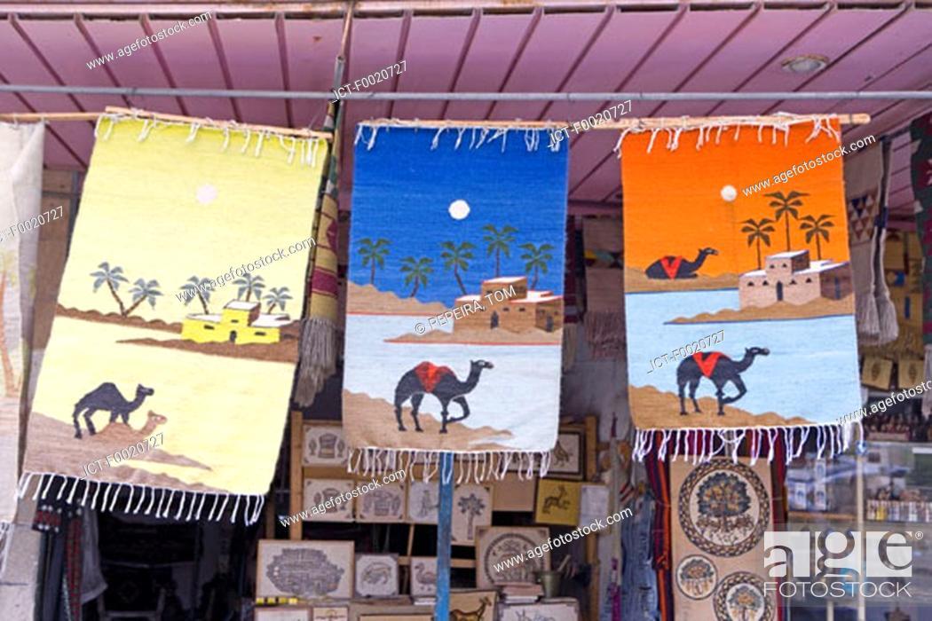 Stock Photo: Jordan, Madaba, carpets for sale.