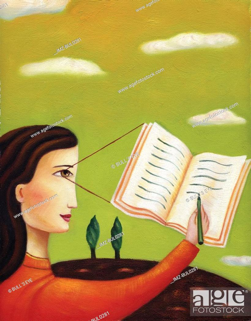 Stock Photo: Profile of a woman writing in a journal.
