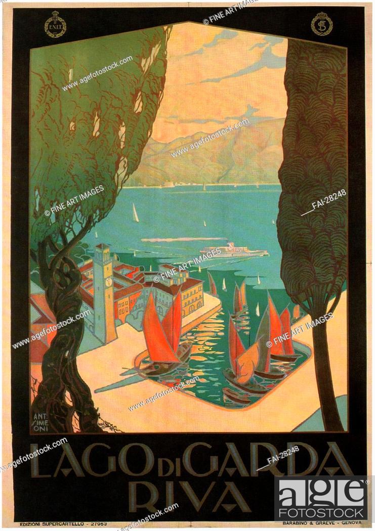 Stock Photo: Riva del Garda by Simeoni, Antonio (active 1920s)/Colour lithograph/Art Deco/1926/Italy/Private Collection/100x70/Poster and Graphic design/Poster/Riva del.
