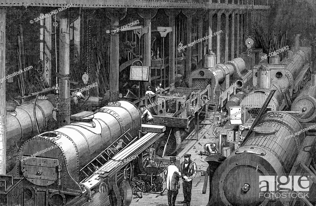 Stock Photo: industry, locomotive construction, Stephenson Locomotive Manufactory, Newcastle-on-Tyne, interior view, workshop, wood engraving, 1864,.