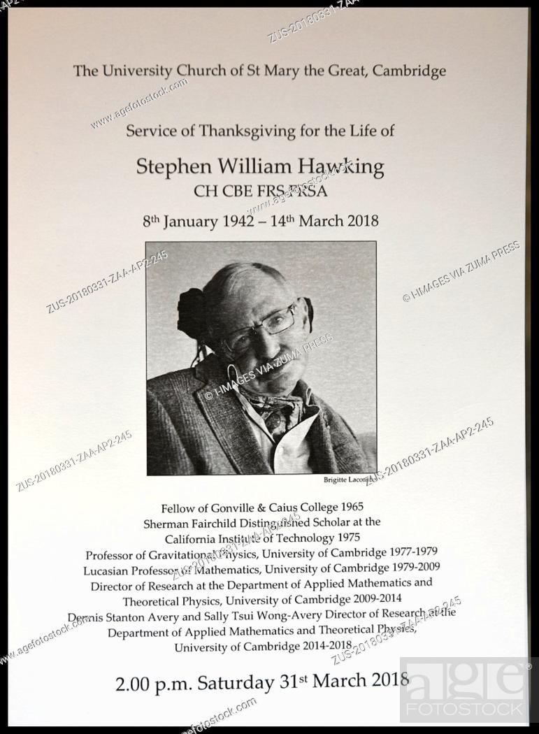 Stock Photo: March 31, 2018 - Cambridge, Cambridge, United Kingdom - Professor Stephen Hawking funeral.  Family and friends of Professor Stephen Hawking attend his funeral.