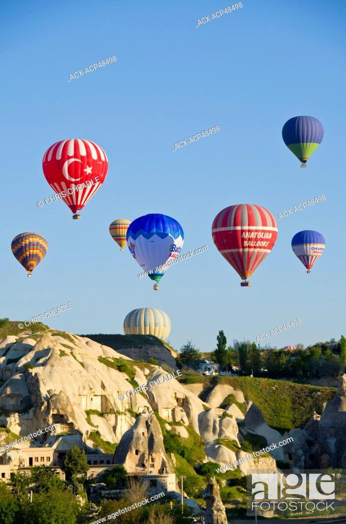 Stock Photo: Ballooning at Goreme, Cappadocia, also Capadocia, Central Anatolia, largely in Nevsehir Province, Turkey.
