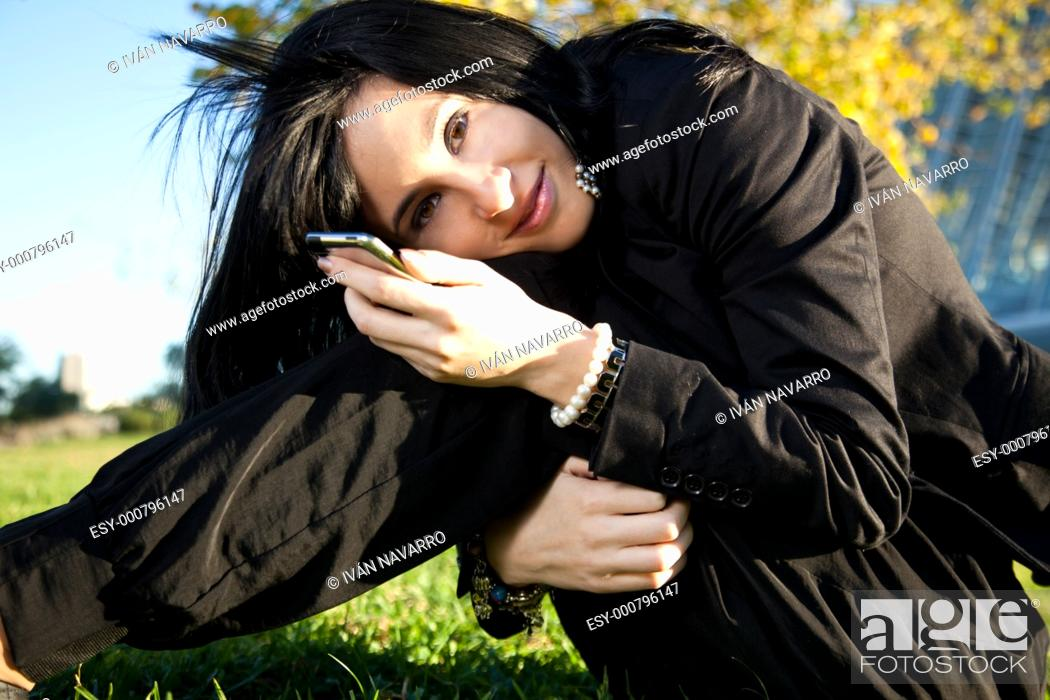 Stock Photo: Girl listening music.