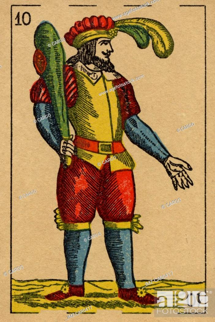 Stock Photo: Vintage playing card showing a man with feathered hat holding a club.