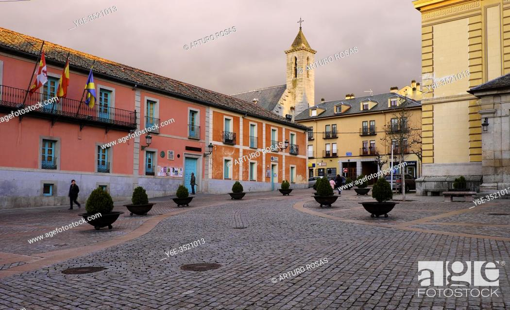 Stock Photo: Town Hall building and tower of Pius XII Church in Real Sitio de San Ildefonso, province of Segovia.