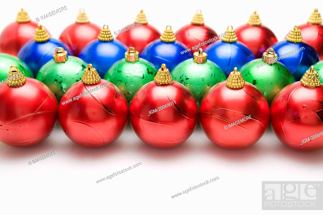 Stock Photo: Christmas Baubles in rows.