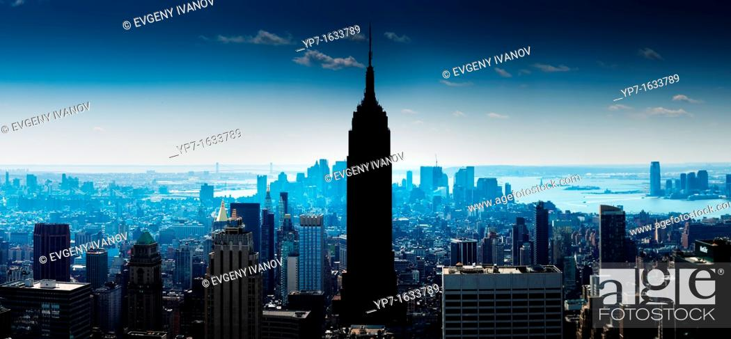 Stock Photo: Creative aerial Manhattan panorama with Empire State Bilding, Hudson river and lower Manhattan.
