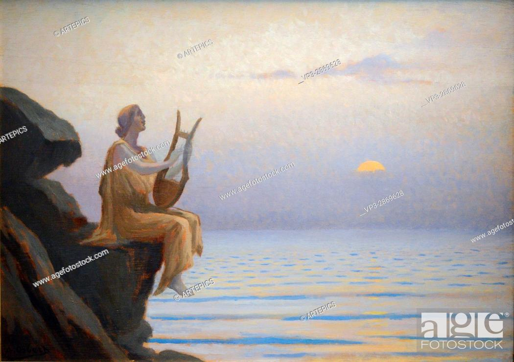 Stock Photo: Alphonse Osbert - Harmonie du soir sur la mer - 1930 - Orsay Museum - Paris.