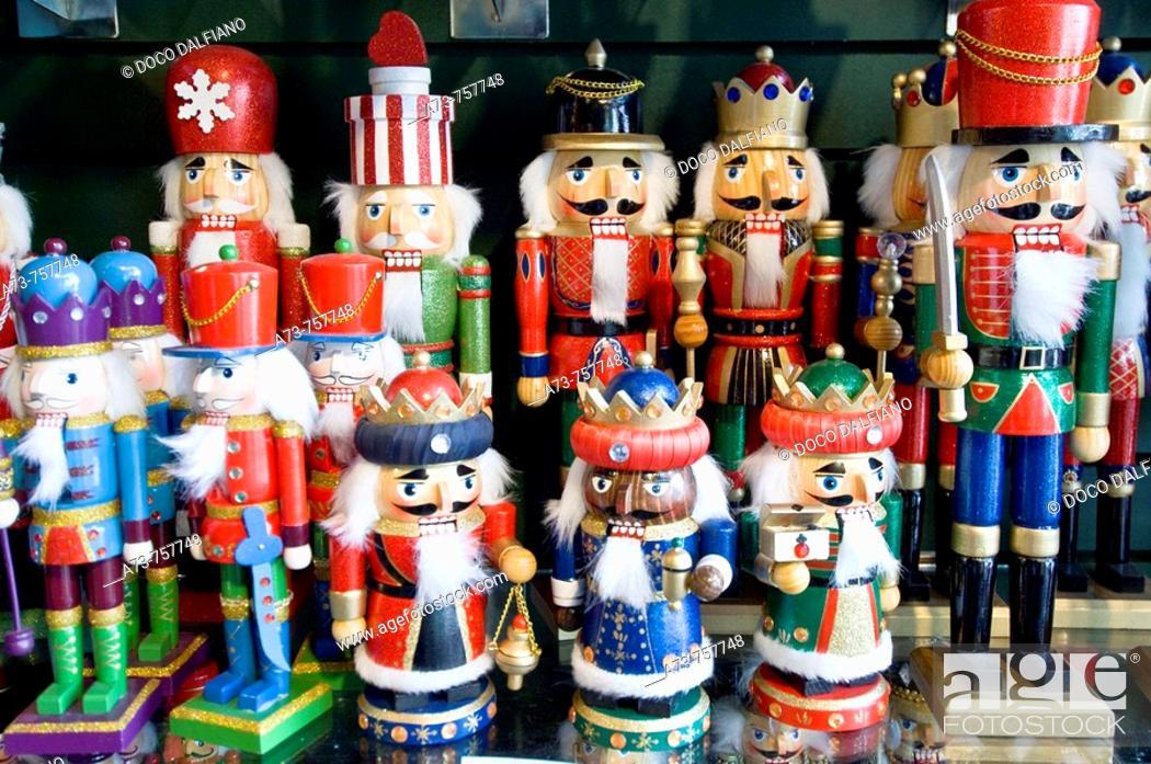 Wooden Figures For Sale At Christmas Decoration Shop Quebec City