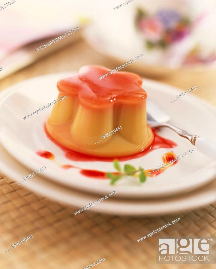 Stock Photo: dessert, strawberry syrup pudding with syrup.