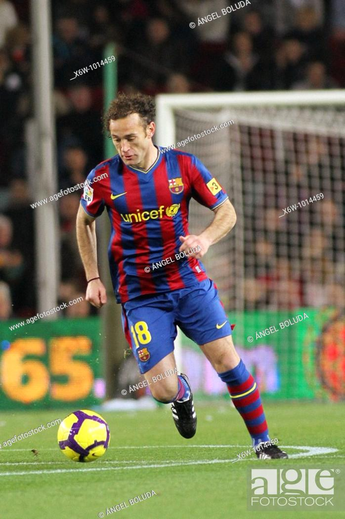 Stock Photo: Barcelona, Camp Nou Stadium, FC Barcelona, Gabi Milito, 2010.
