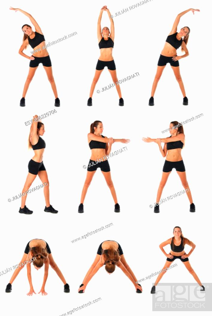 Stock Photo: Fitness collage. Young woman doing exercise and stretching over white.
