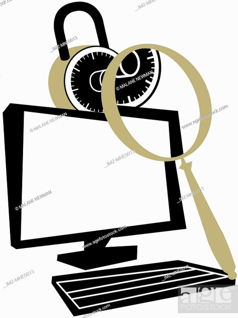 Stock Photo: A magnifying glass on a padlock and a computer.