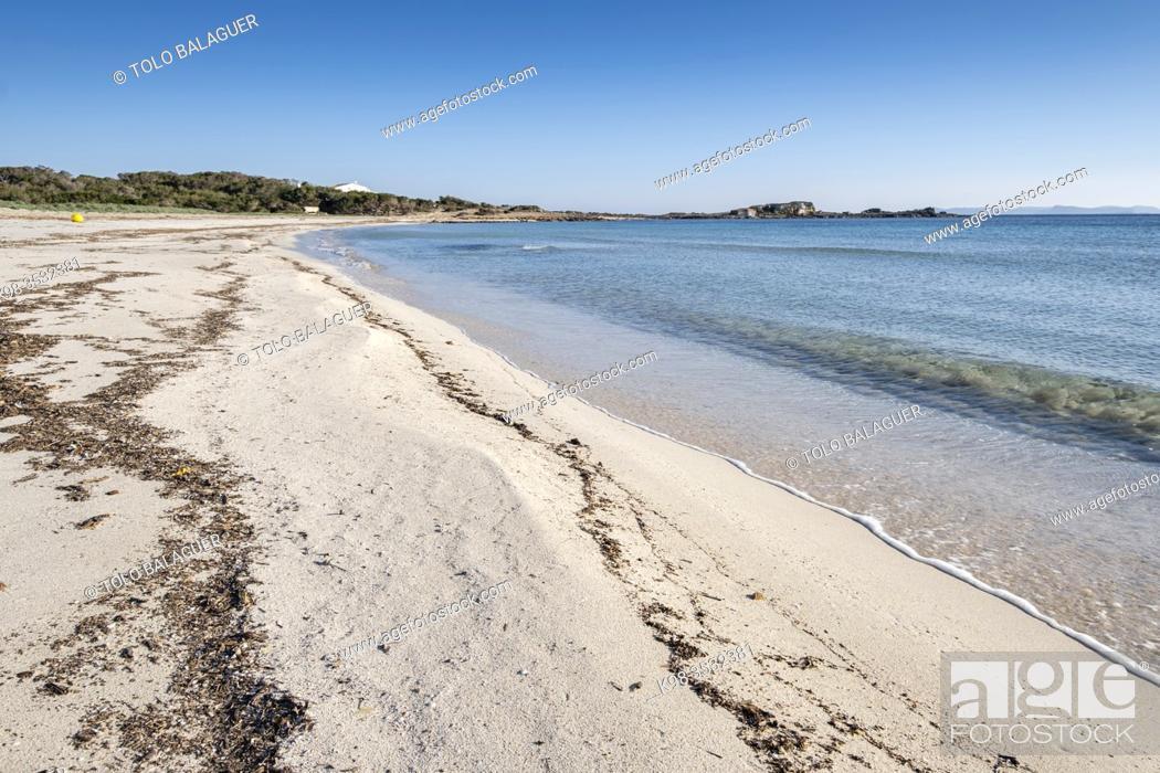 Stock Photo: Es Caragol beach, Santanyi municipality, Mallorca, Balearic Islands, Spain.