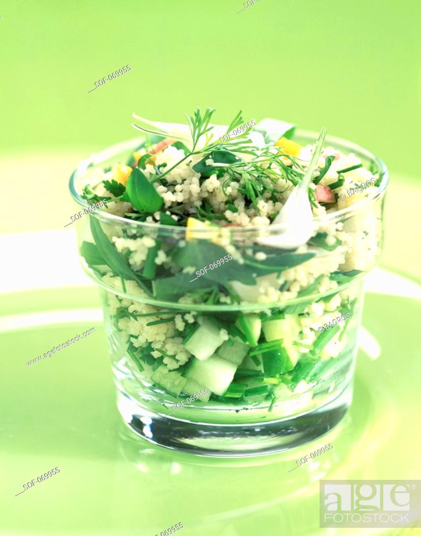 Stock Photo: taboule-style, couscous semolina with herbs.