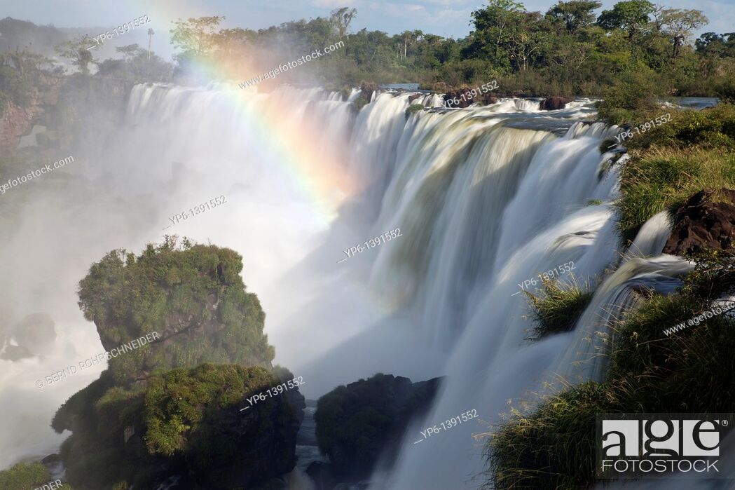 Stock Photo: Iguazu Falls with rainbow, Iguazu National Park, Argentina.