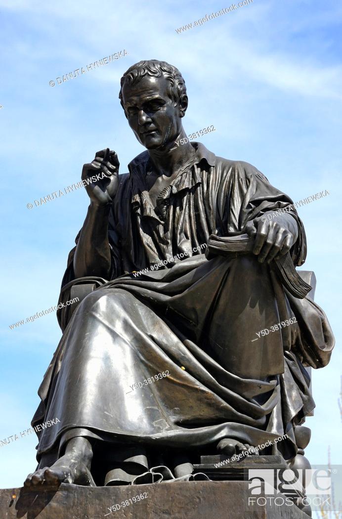 Stock Photo: Statue of philosopher Jean-Jacques Rousseau, Île Rousseau, Geneva, Switzerland, Europe.