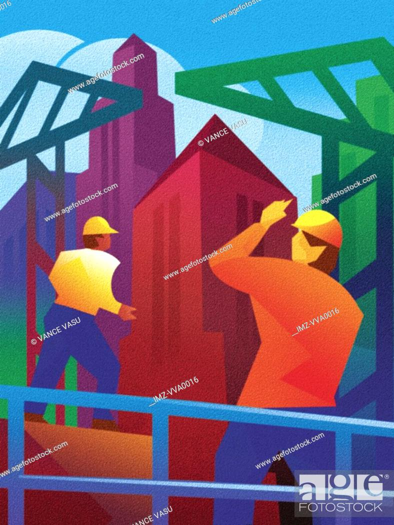 Stock Photo: An illustration of a construction site in a city.