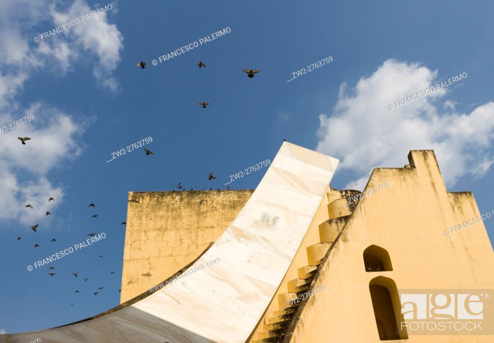 Stock Photo: The Jantar Mantar structures are an equinoctial sundial. Jaipur, Rajasthan. India.