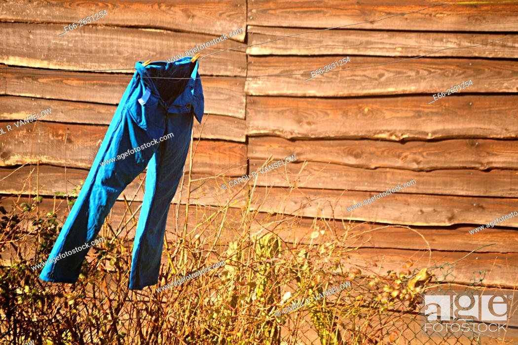 Stock Photo: Pair of blue trousers hanging on clothesline, blowing in the wind, with tall wooden fence in background.