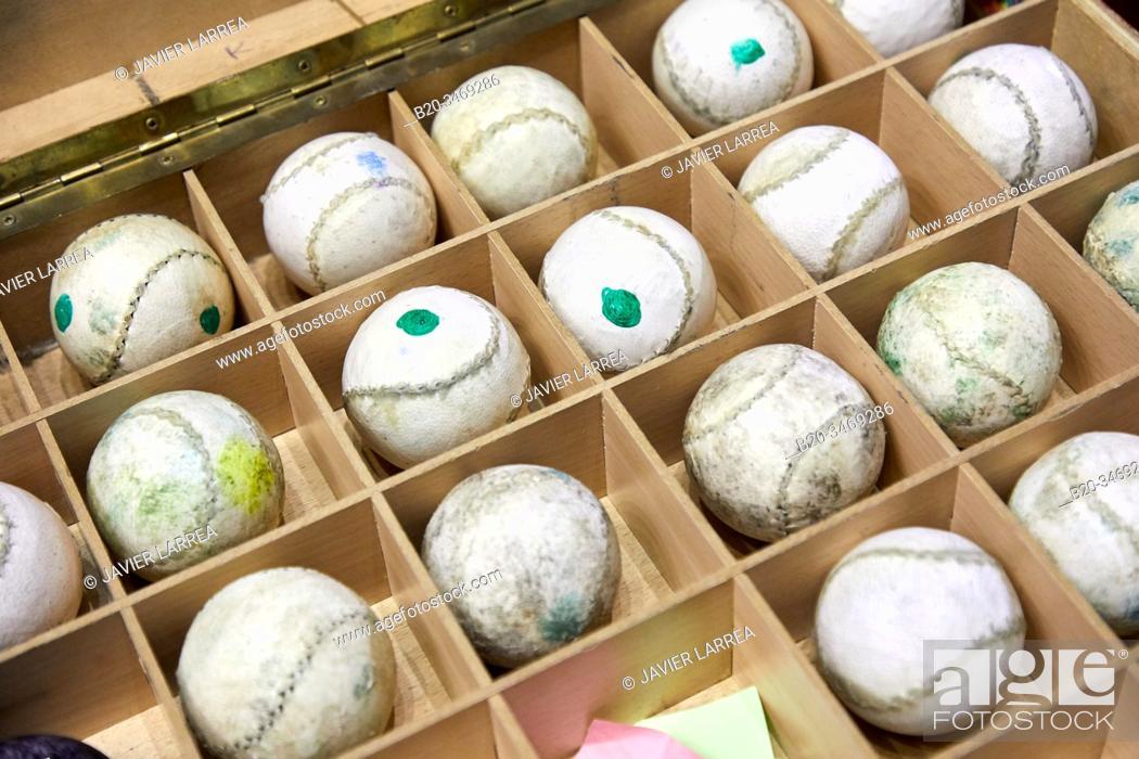 Stock Photo: Balls, Jai Alai, Zesta-Punta (Basket tip), Fronton Atano, Donostia, San Sebastian, Gipuzkoa, Basque Country, Spain, Europe.