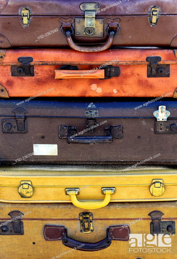 Stock Photo: stack of old suitcases.