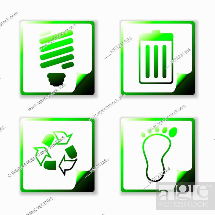 Stock Vector: Simple clean eco icons with page curl and offset shadow.