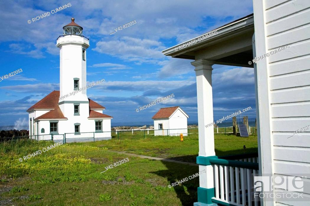 Stock Photo: Point Wilson Lighthouse in Fort Worden State Park, Port Townsend, Washington State, USA.