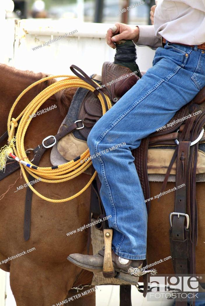 Canada, Alberta, Calgary, Stampede park, cowboy, horse, detail
