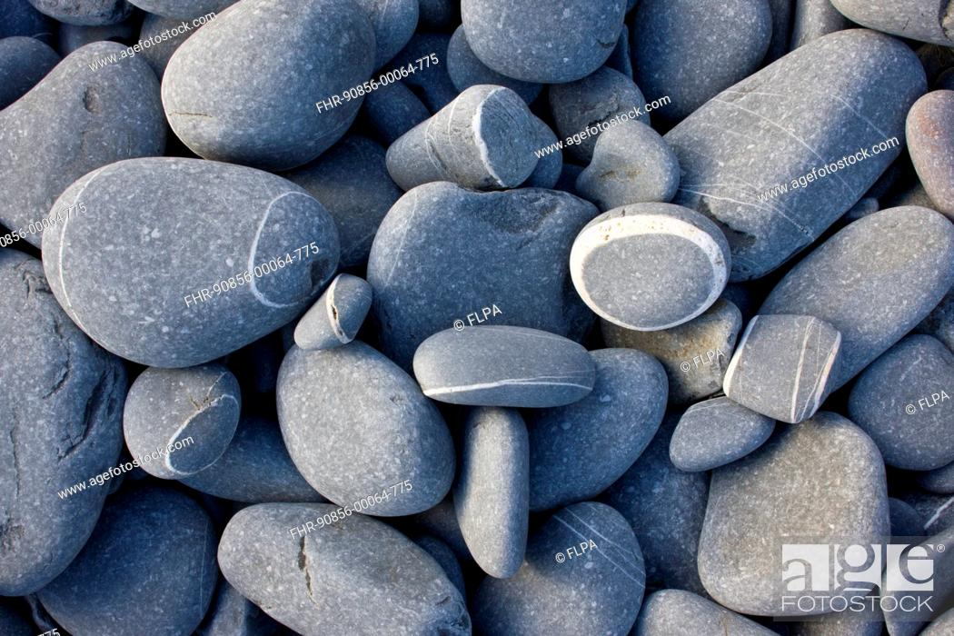 Stock Photo: Close-up of rounded sandstone pebbles on beach, Hartland Quay, North Devon, England, may.