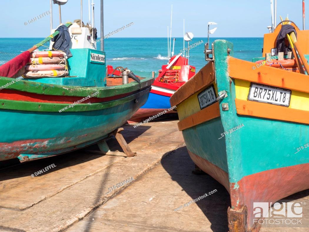 Stock Photo: South Africa Arniston Seaport Fishing Boats.