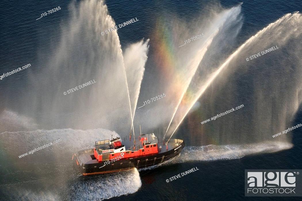 Stock Photo: Fireboat spray, aerial view in Boston harbor,  Boston, Usa.