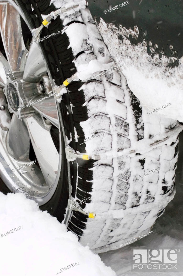 Stock Photo: Snow chains for tire.