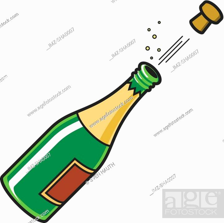 Stock Photo: A bottle of champagne with a poped cork.
