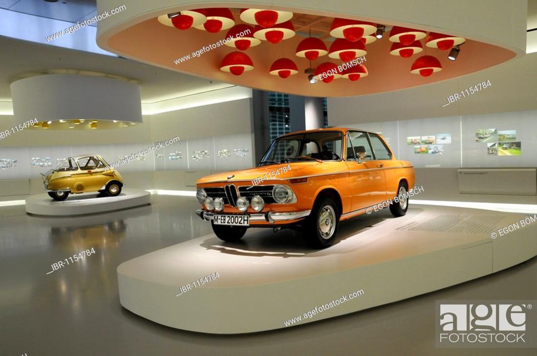 Stock Photo: BMW 2002 TI, left BMW Isetta 250, BMW Museum, Munich, Bavaria, Germany, Europe.