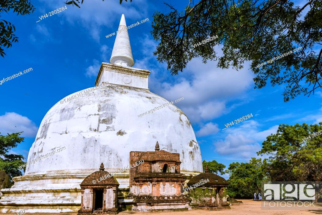 Stock Photo: Kiri Vihara Dagoba, Alahana Pirivena Monastery Complex built by the King Parakramabahu the Great 1153-1186 A. D, Ancient City of Polonnaruwa.